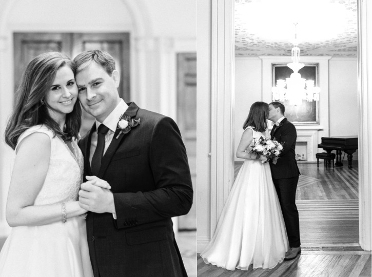 Decatur House Wedding, Black and White Photography, Winter Wedding