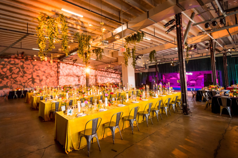 Dock 5 Union Market DC Wedding. A. Dominick Events. Industrial Wedding, Bold and Bright Colors.