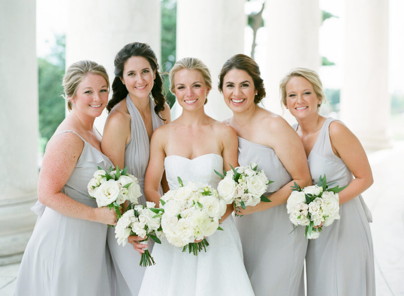 Classic and Traditional DC Wedding. Light Grey Bridesmaid Dresses Joanna August. Sweet Root Village Floral Design
