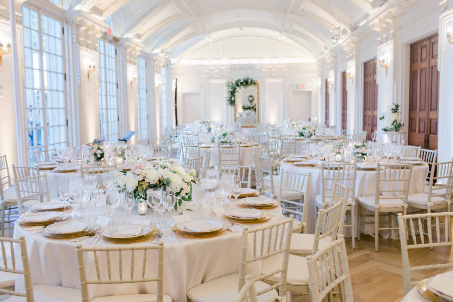 Cream and Gold Wedding Decor accented with lush florals by Sweet Root Village. A. Dominick Events